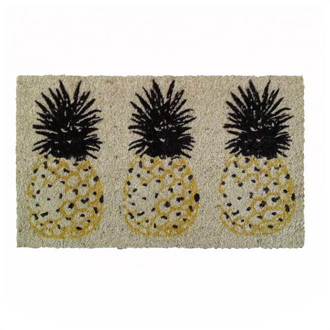 Bombay Duck Three Pineapples Door Mat Yellow