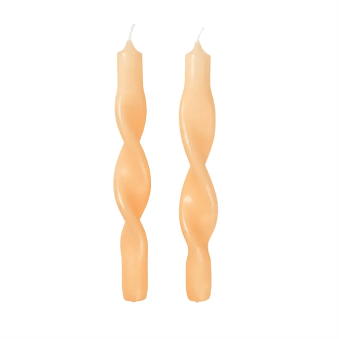 Broste Twisted Candles Yellow Pack of 2