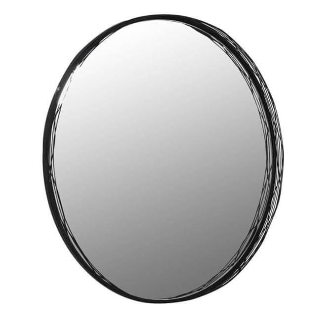Round Black Wire Frame Wall Mirror