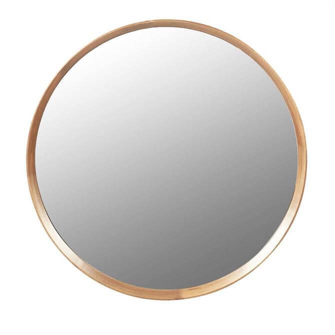 Wood Framed Round Mirror
