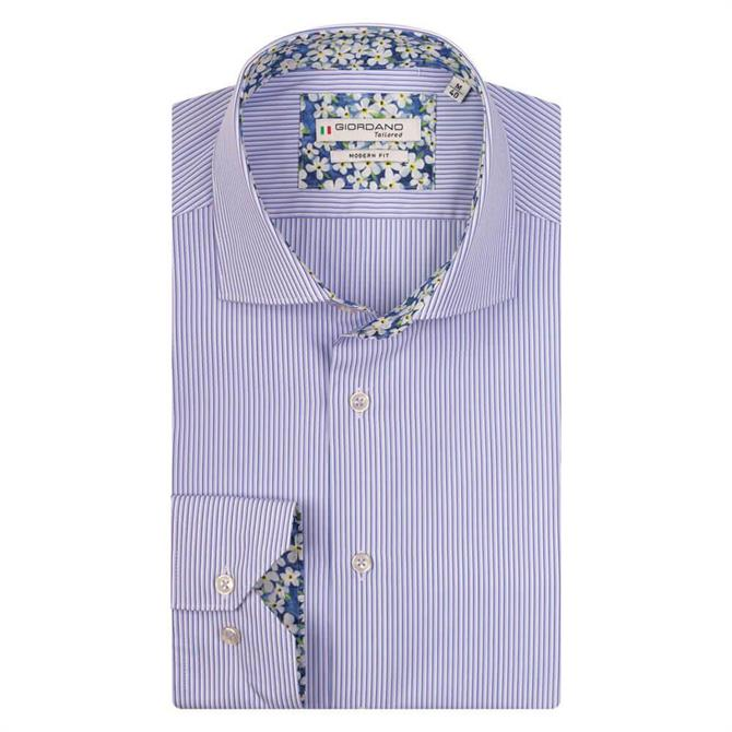 Giordano Baggio Cutaway Light Blue Stripe Shirt