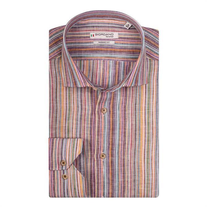 Giordano Maggiore Multi Stripe Long Sleeve Cutaway Shirt