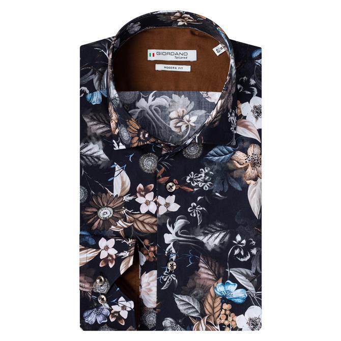 Giordano Maggiore Dark Florals Print Cutaway Shirt