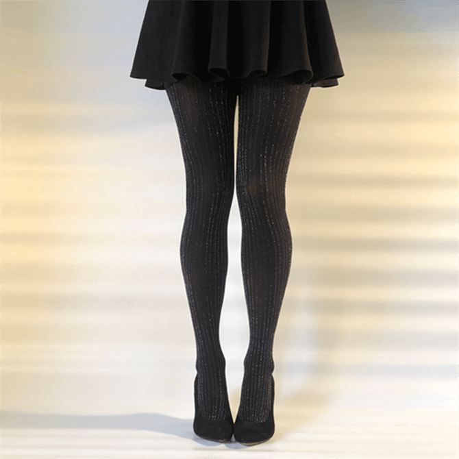 Gipsy Black with Silver lurex Ribbed Tights