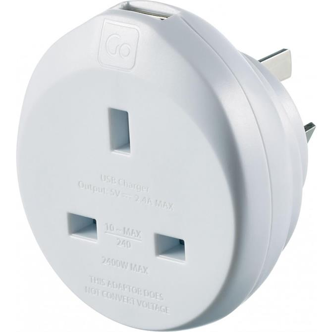 Go Travel UK to Australia Travel Adaptor + USB