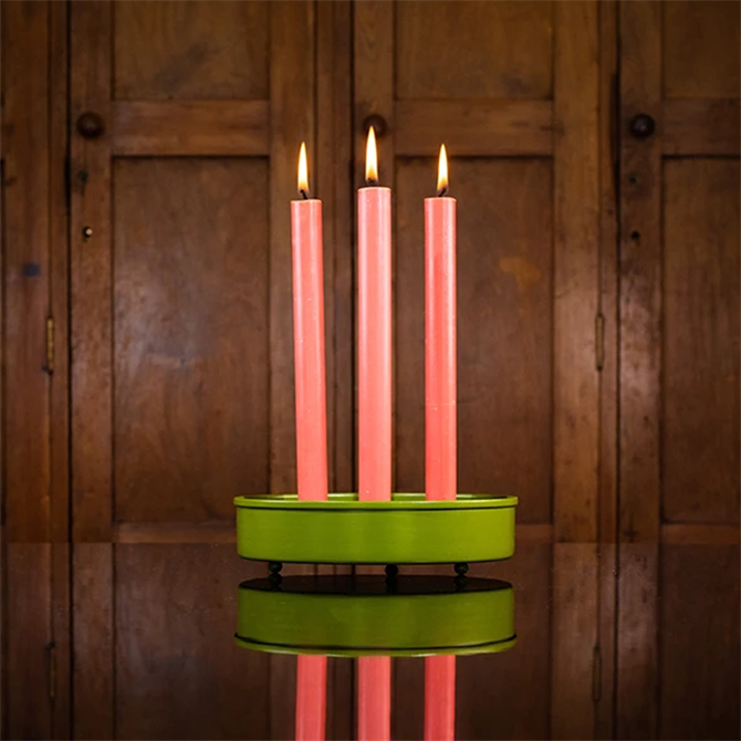 British Colour Standard Olive Steel Candle Platter Small