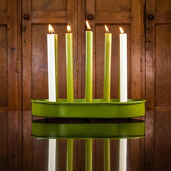 British Colour Standard Olive Green  Steel Candle Platter