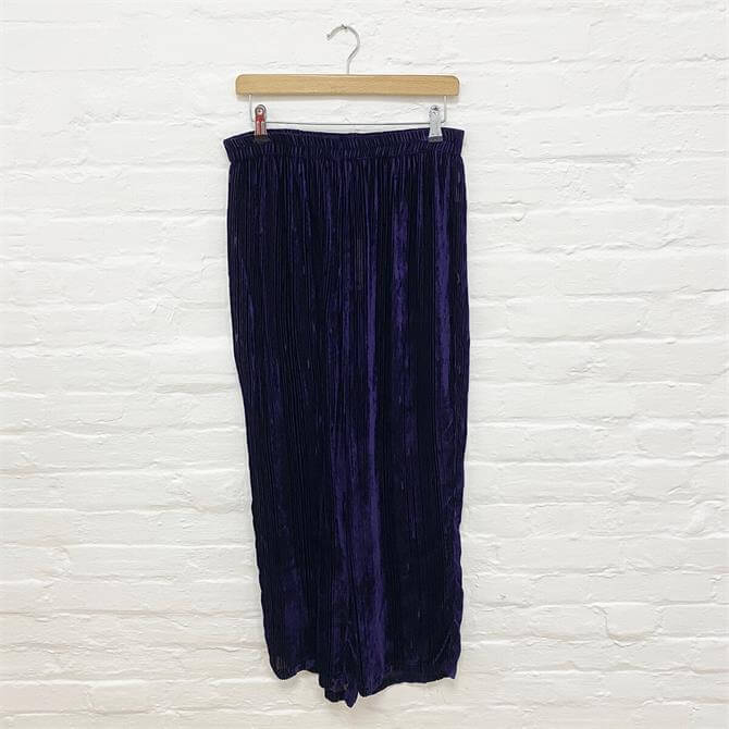 Grizas Wide Leg Velvet Ribbed Trousers