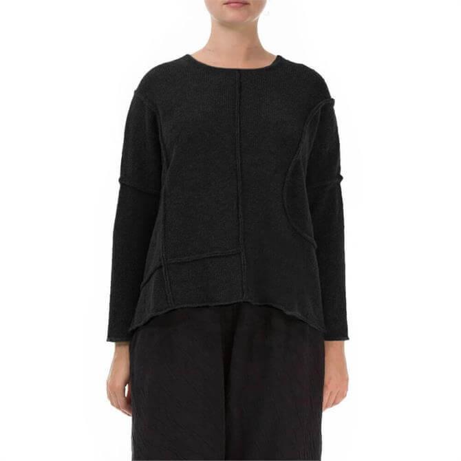 Grizas Exposed Seam Merino Wool Black Sweater