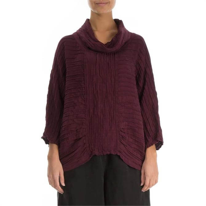 Grizas Cowl Neck Silk and Linen Top