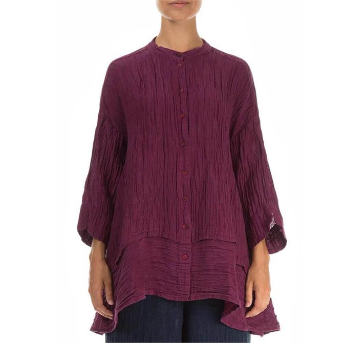 Grizas Flared Crinkled Magenta Silk and Linen Shirt