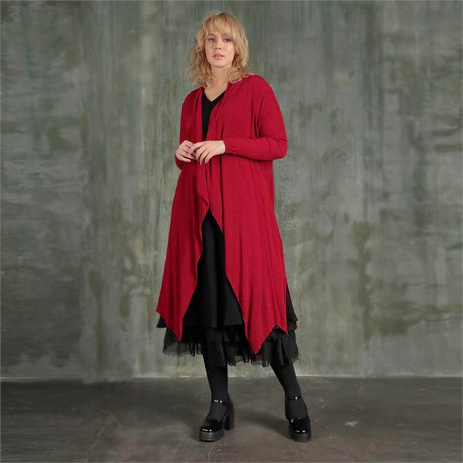 Grizas Open-Fronted Red Crinkle Silk and Viscose Jacket