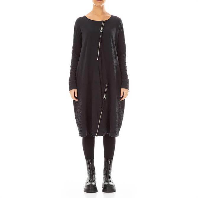 Grizas Zip Embellished Loose Fit Black Dress