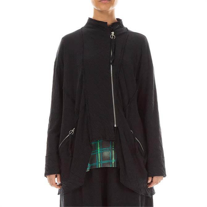 Grizas Zip Embellished Grey Wavy Cotton Jacket