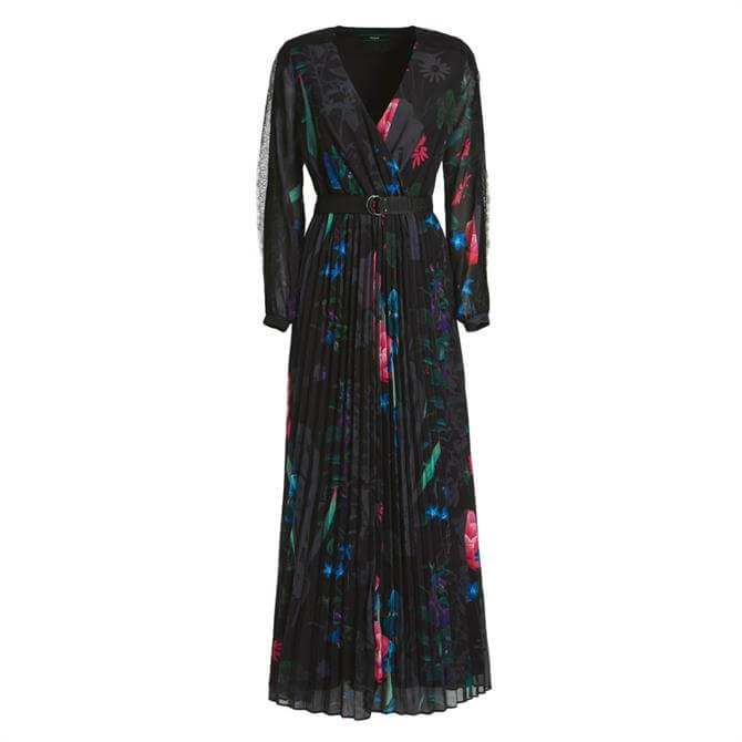 Guess Floral Print Belted Pleat Maxi Dress