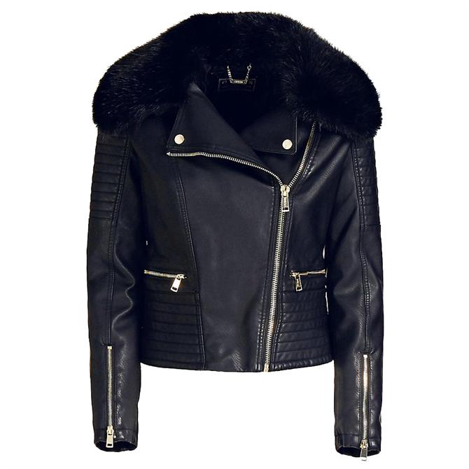 Guess Tasha Faux Fur Biker Jacket