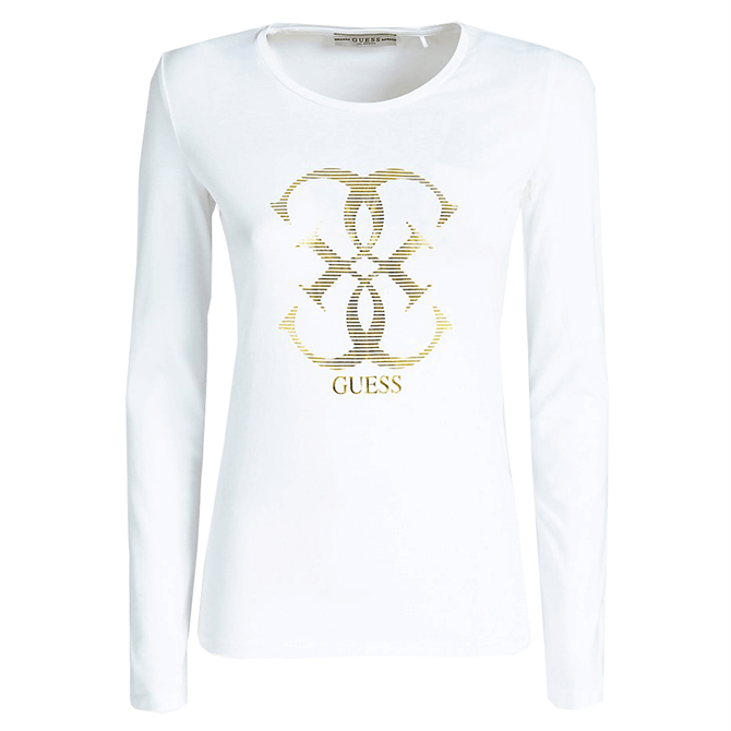 Guess Gold Logo Long-Sleeved T-Shirt
