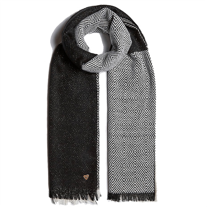 Guess Mixed Pattern Monochrome Scarf