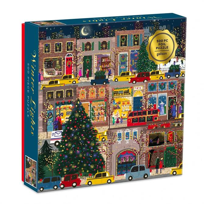 Galison Winter Lights Foil Puzzle 500 Piece Jigsaw Puzzle