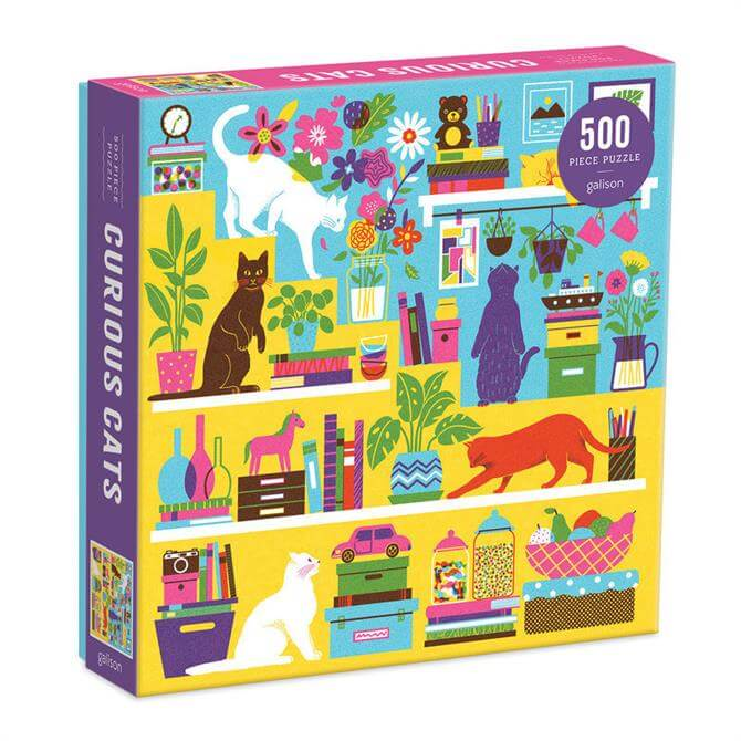 Galison Curious Cats 500 Piece Jigsaw Puzzle