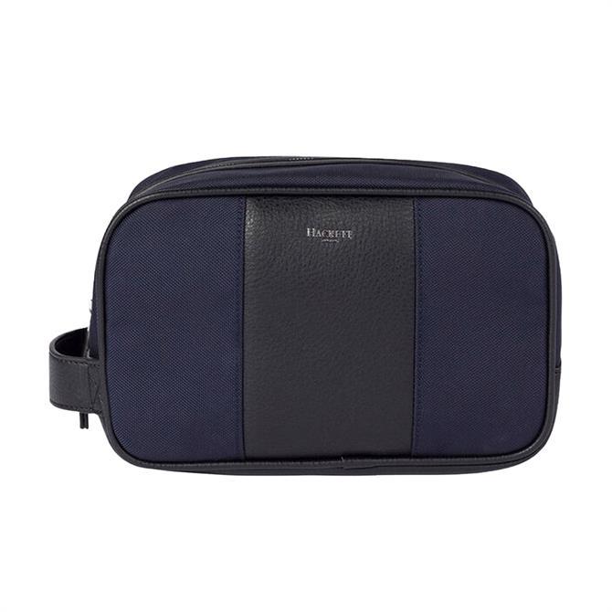 Hackett Travel Leather Trim Wash Bag