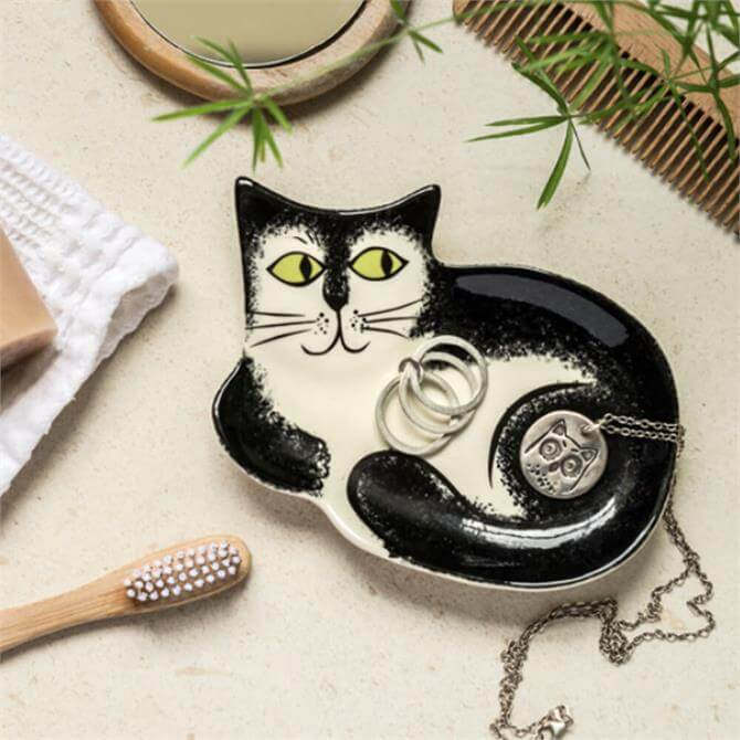 Hannah Turner Black and White Cat Trinket Dish
