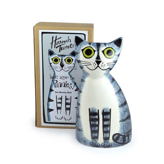 Hannah Turner Cat Money Box Grey Tabby