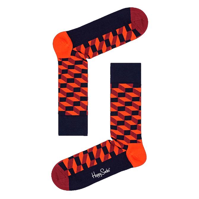 Happy Socks Filled Optic Socks in Orange