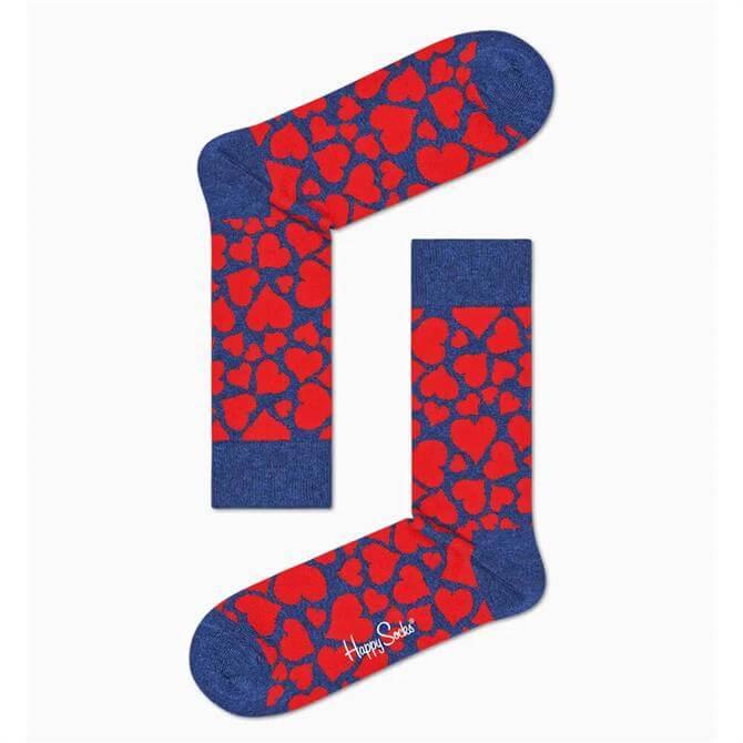 Happy Socks Heart Sock - Red/Blue
