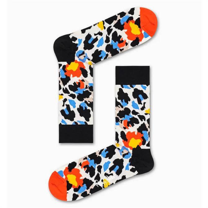 Happy Socks Leopard Sock - Black / Blue