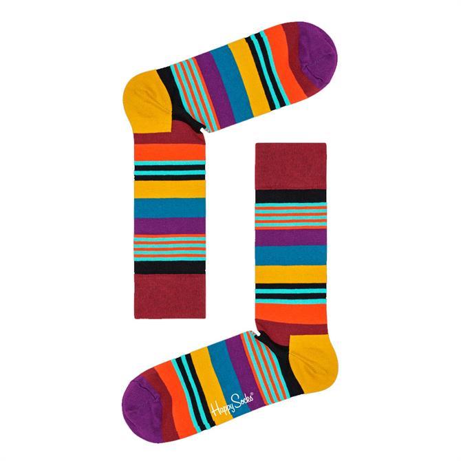 Happy Socks Patterned Purple Multi Stripe Socks