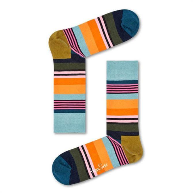Happy Socks Muted Multi Stripe Socks