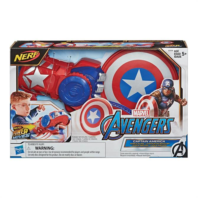Hasbro NERF Power Moves Marvel Avengers Captain America Shield Sling Kids Roleplay