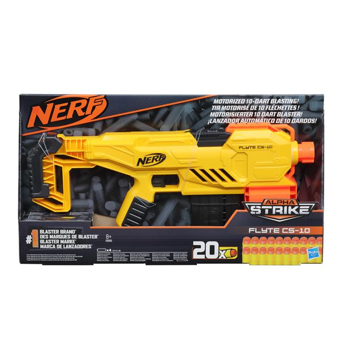 Nerf Alpha Strike Flyte CS-10 Motorized 10-Dart Blaster Toy with Darts