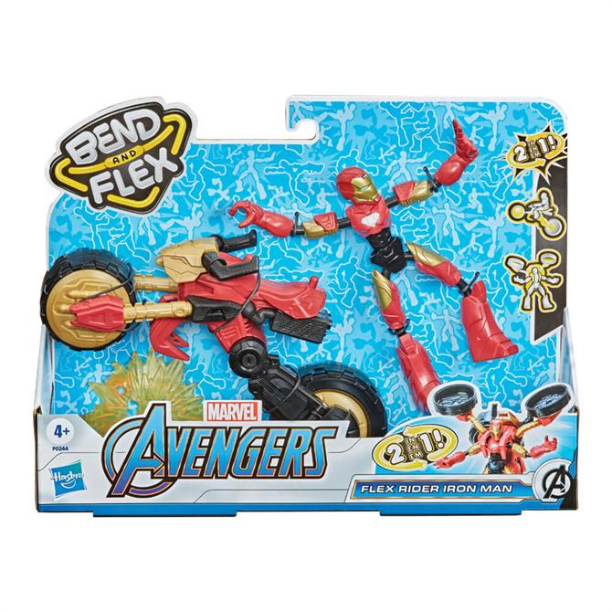 Hasbro Marvel Bend and Flex, Flex Rider Iron Man and 2-In-1 Motorcycle