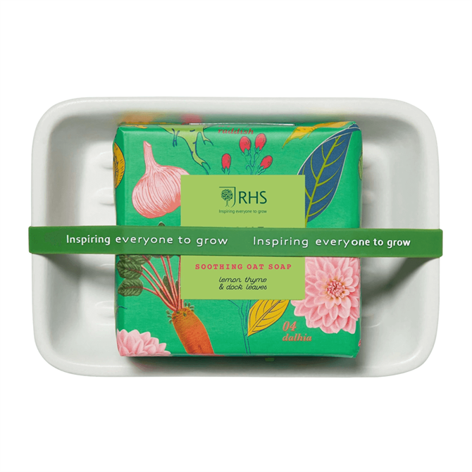 Heathcote & Ivory RHS Home Grown Soothing Oat Soap on a Dish 150g
