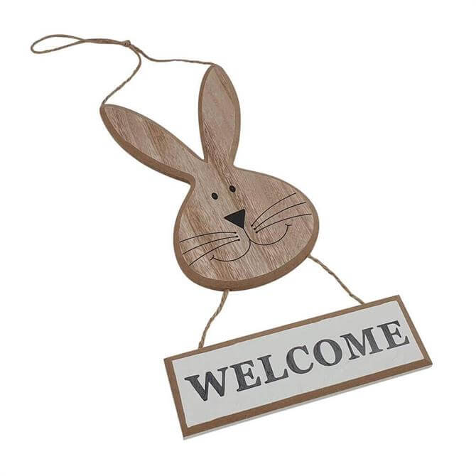 Hanging Wooden Rabbit Welcome