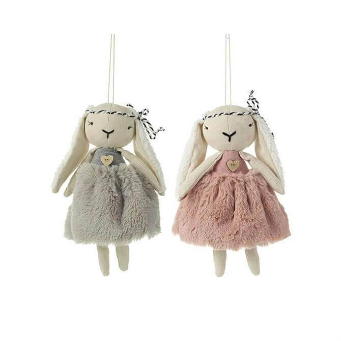 Lop Eared Hanging Rabbit With Fur Dress Decoration Assorted