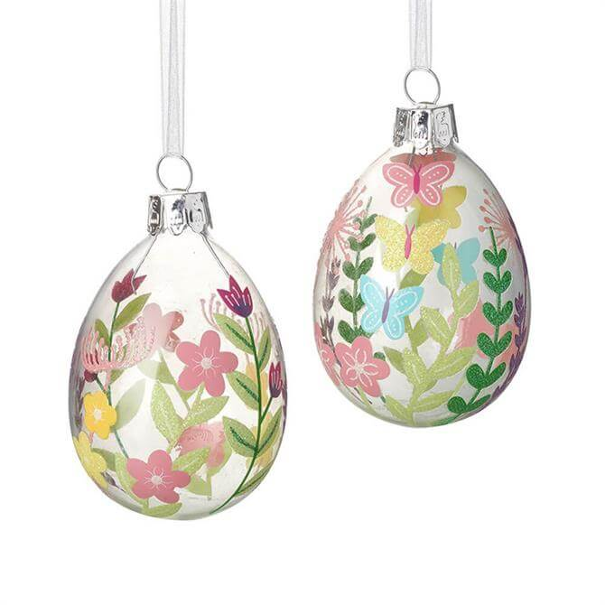 Pastel Flowers Glass Oval Baubles Assorted