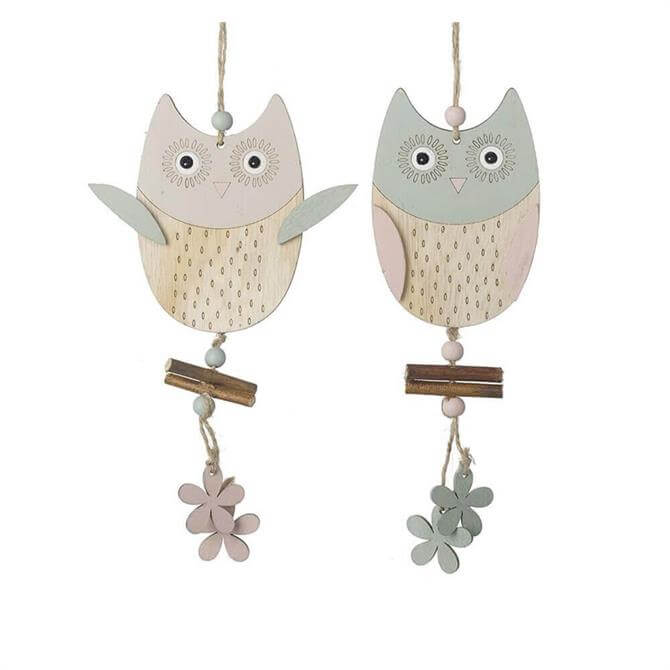 Pastel Owls Hanging Decoration With Flowers