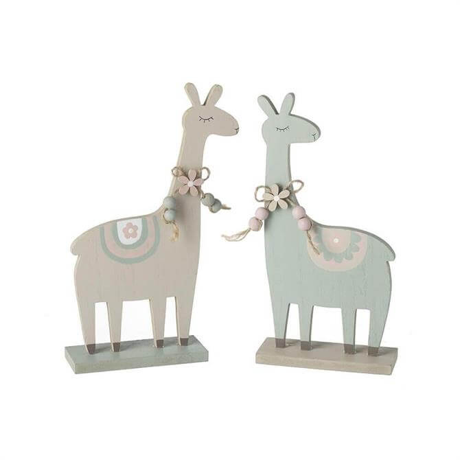 Wooden Llama With Necklaces Decoration
