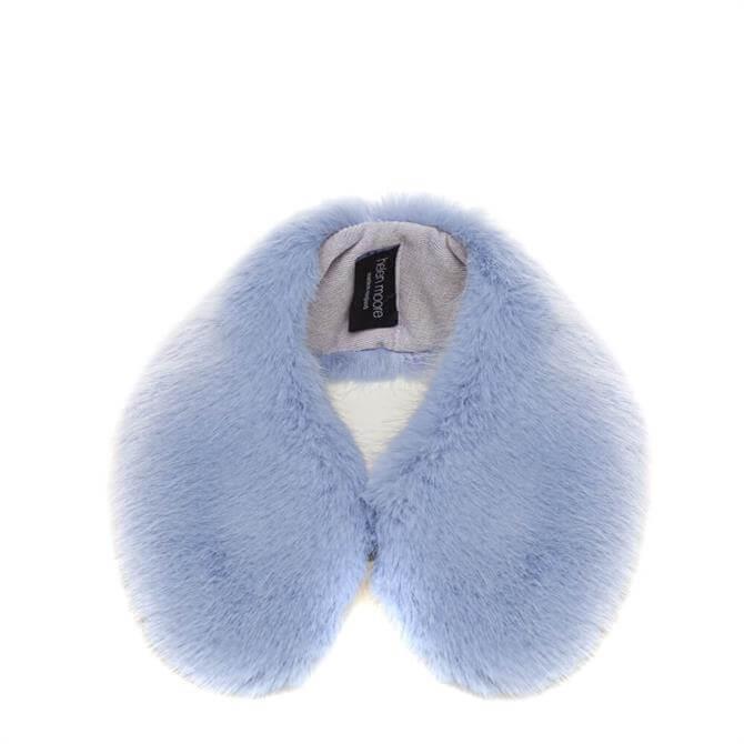 Helen Moore Blue Faux Fur Shirt Collar
