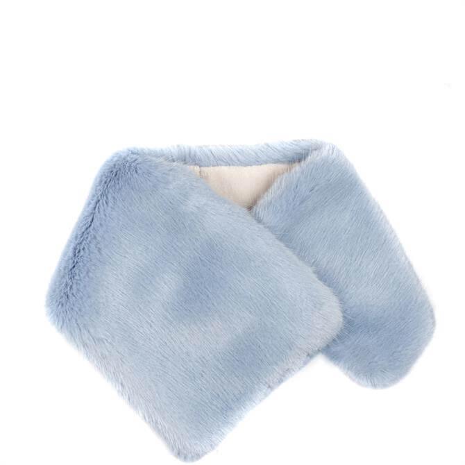 Helen Moore Faux Fur Blue Asymmetric Scarf