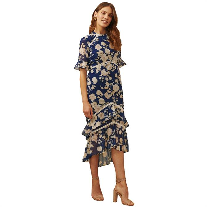 Hope & Ivy The Marie Floral Frill Sleeve Midi Dress