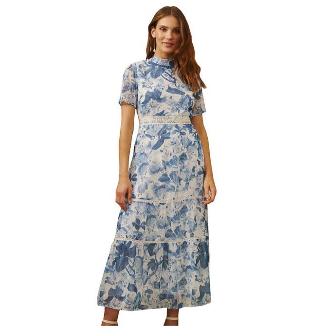 Hope & Ivy The Savannah Floral Keyhole Back Tiered Midi Dress