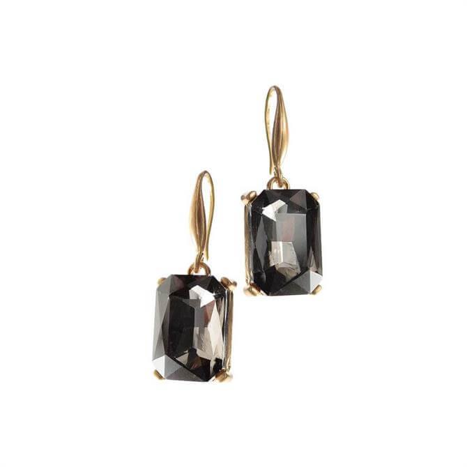 Hot Tomato Oblong Black Diamond Crystal Drop Earrings