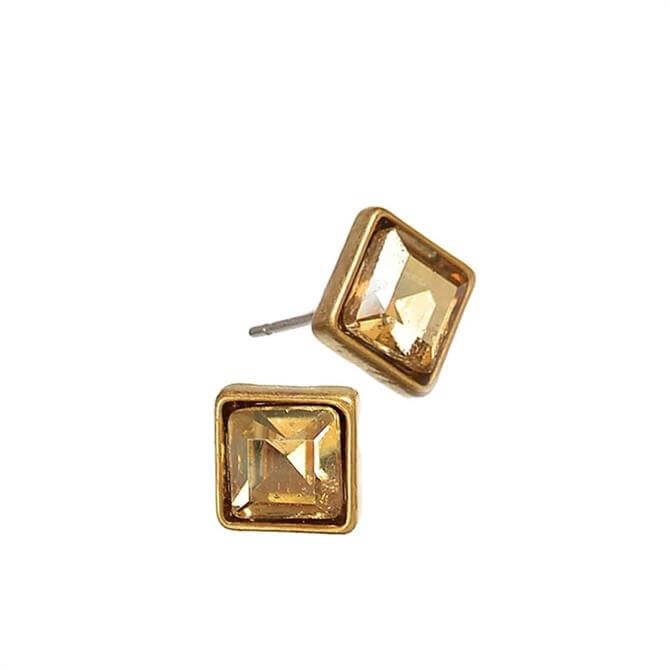 Hot Tomato Gold Crystal Square Stud Earrings
