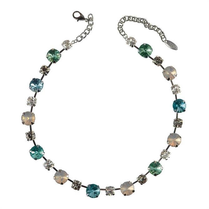 Hot Tomato Glam Rock Chic Green Blue & Gun Metal Necklace