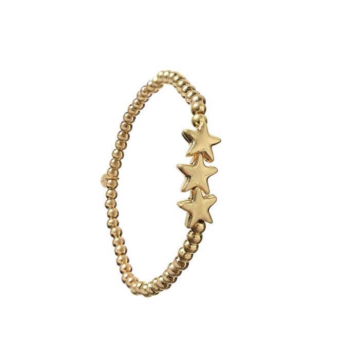 Hot Tomato Triptych of Gold Stars Bracelet