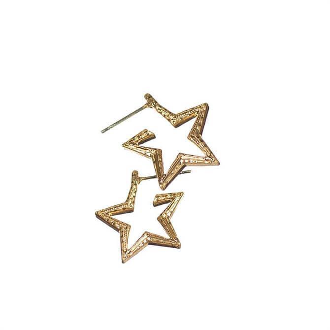 Hot Tomato Gold Starry Starry Hoop Earrings
